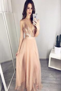 AH006  New Arrival Prom Dresses, Sexy V-Neck Sequin Top Prom Dresses, Nude Tulle Prom Dresses 2017