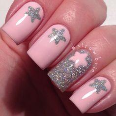 Pink and silver star nail art by strawbrie. Great Nails, Cute Nail Art, Fabulous Nails, Perfect Nails, Love Nails, Star Nail Art, Star Nails, Nailart, Best Nail Art Designs