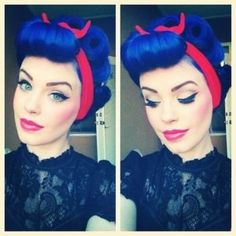 A retro pin up look pairs perfectly with Rockabilly Blue hair! Bumper Bangs, Cabelo Pin Up, Peinados Pin Up, Rockabilly Hair, Rockabilly Fashion, Rockabilly Style, Pelo Retro, Modelos Pin Up, Pelo Vintage