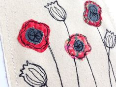 Poppies flower greeting card, personalised machine embroidered stitched fabric applique. Birthday, sympathy, mother's day Unframed poppy art