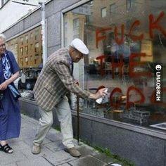 Grandpa tagging up...