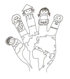 World hand puppet coloring sheet Preschool Education, Homeschool Kindergarten, Preschool Learning Activities, Preschool Activities, Earth Day Activities, Colouring Pages, Coloring Sheets, Coloring Books, Around The World Theme