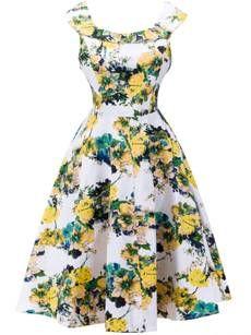 Robe Patineuse Floral Imprimé Polyester Longueur Aux Genoux
