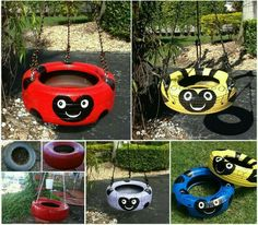 How to Repurpose Old Tires Into Creative DIY Kids Tire Swing - Kids Backyard Tire Playground, Swing Pictures, Tire Craft, Reuse Old Tires, Recycled Tires, Tire Planters, Tire Swings, Kids Swing, Yard Swing