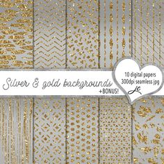 Silver and Gold Backgrounds Digital Papers  BONUS Pattern