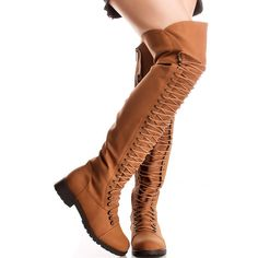 7ee48aa21de4 Camel faux leather side zipper over the knee high boots ( 43) ❤ liked on