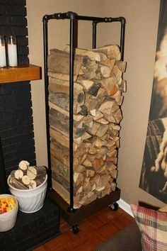 Pipe firewood rack with wheels