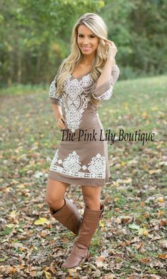 Lasting Impression Dress Mocha Curvy CLEARANCE - The Pink Lily Boutique