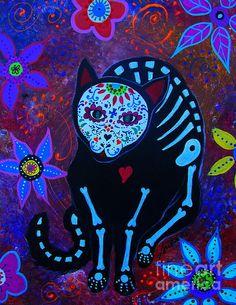 day of the dead, skull,dia de los muertos, calavera, painting, prints, sale, prisarts, pristine,cartera,turkus,mexican,folk,art,artist,dog,chichuahua,pet,love,lover,cat, kitten,kitty,siamese,persian, meow, best-seller, MEOW VIII