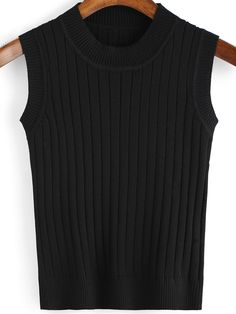Black Round Neck Vertical Stripe Sweater Tank ,35% Off for 1st Sign Up