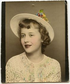 ** Vintage Photo Booth Picture **   Lovely young woman with hand tinted flowers on Easter hat.