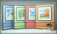 Art Impressions Rubber Stamps: Lighthouse Window, Christmas Village Window, Antiques Window  and Gazebo Window ...handmade Windows to the World cards.