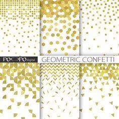 Gouden glitter confetti digitale papier confetti moderne patroon ontwerp kaart achtergrond Plakboek geometrische uitnodiging kerstfeest levert