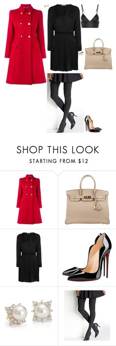 """""""Short dress in winter"""" by stylev ❤ liked on Polyvore featuring Versace, Hermès, Dagmar, Christian Louboutin, Blue Nile, Hanes and T By Alexander Wang"""