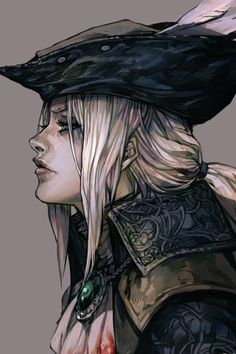 ascot blonde_hair bloodborne grey_background hankuri hat lady_maria_of_the_astral_clocktower long_hair ponytail simple_background solo the_old_hunters tricorne white_hair Dnd Characters, Fantasy Characters, Female Characters, Pirate Art, Pirate Woman, Fantasy Inspiration, Character Inspiration, Fantasy Character Design, Character Art