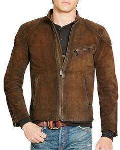 Polo Ralph Lauren Suede Café Racer Jacket Brown Suede Jacket, Brown Leather,  Suede Leather 7013698e6d3f