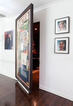 Contemporary Home Theater with Standard height, Paint 1, Hardwood floors, Hidden door, can lights