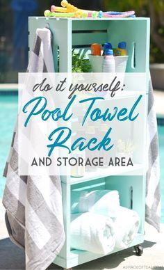 DIY: Pool Towel Rack and Storage Area - pool decor Beach Towel Storage, Towel Rack Pool, Pool Storage, Pool Towels, Storage Area, Towel Racks, Do It Yourself Pool, Pool Diy, Pool Organization
