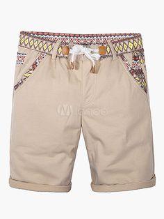 Elástico na cintura Cotton Shorts - Milanoo.com