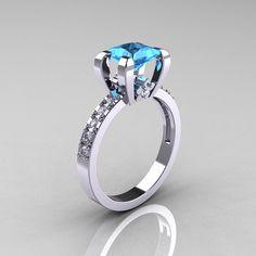 Classique 10K or blanc topaze bleue princesse 10 par artmasters, women's jewleries