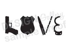 LOVE Police Officer - JPG image & SVG cricut cut file - Printable Digital Iron On - gun badge ammo bullets handcuff