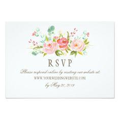 Classic Rose Garden Wedding RSVP Online Website Card