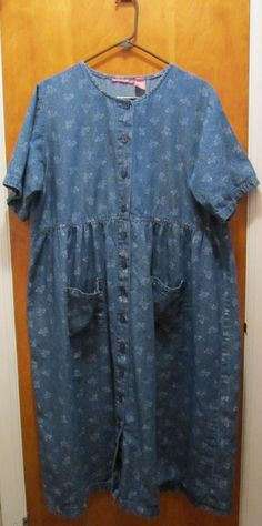 Blue Floral Denim Chambray Dress by WOMAN WITHIN - PLUS SIZE 16WP - Modest Dress #WomanWithin #CasualDress #Casual