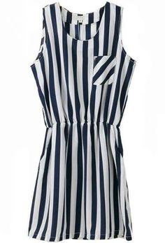 Black White Vertical Stripe Pocket Dress - Sheinside.com