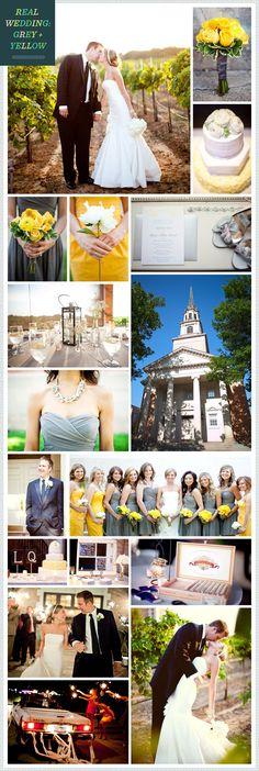 A Grey + Yellow colour wedding scheme. Take a look it works well and looks great.