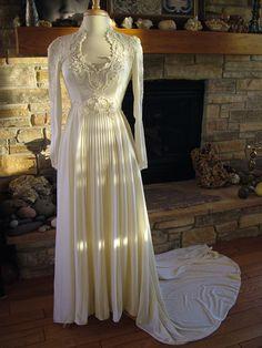 Wedding dress 1970s vintage polu lace pearls pleating decoration victorian style retro empire via #RetroVintageWeddings on etsy (SOLD)