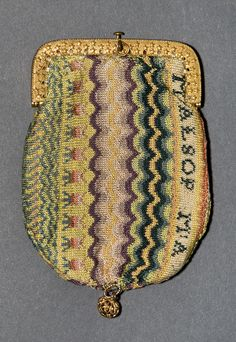 Purse Category: Textiles  Creator (Role): Mary W. Alsop (Knitter)  Place of Origin: Middletown, Connecticut, United States, North America  Date: 1817  Materials: Silk; Metal; Leather  Techniques: Knit