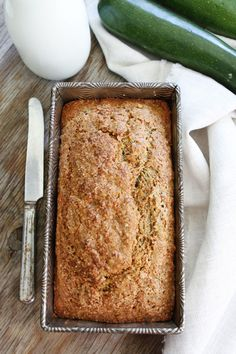 Zucchini Banana Bread Recipe on twopeasandtheirpod.com A blend of your two favorite breads! This easy quick bread is a great way to use up summer zucchini and brown bananas!