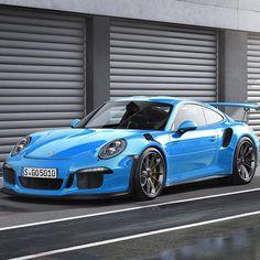 #Porsche GT3 RS in bright blue! #Classic #SportsCar #Speed #Power #Style #Design #Performance