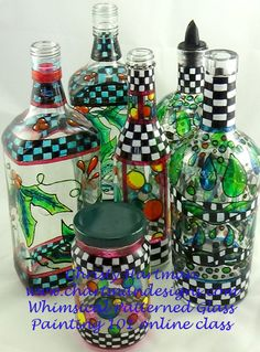Join me for my online class, Whimsical Bottle Painting 101 to learn these fun doodled techniques on bottles.  How exciting to take an object you would throw away and up-cycle it into something beautiful  Find all of the information at www.chartmandesigns.com .