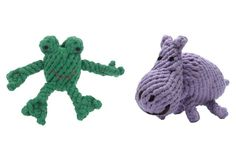 Asst/2 Pet Toys, Frog & Hippo