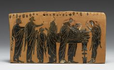 The lying in state of a body (prothesis) attended by family members, with the women ritually tearing their hair, depicted on a terracotta pinax by the Gela Painter, latter 6th century BC
