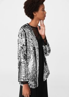 PSA: Mango is really good right now. Here are the best pieces to buy from Mango for winter from bell-sleeve sweaters to swingy statement earrings. Long Jackets, Jackets For Women, Paris Fashion, Girl Fashion, Moda Mango, Special Occasion Outfits, Metal Fashion, Summer Jacket, Sequins