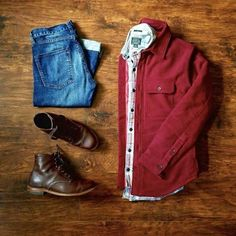 Outfit grid - Burgundy overshirt