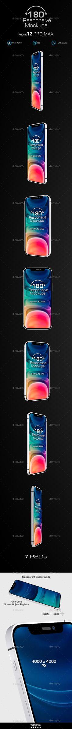 180 Responsive 3D Mockups - Phone 12 Pro Max - White Mockup Templates, Design Templates, Photoshop, Responsive Web, Showcase Design, Retro, Free Design, 3d, Purpose
