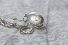 Small Sterling Silver Locket Necklace, oval sterling silver locket, petite vintage locket