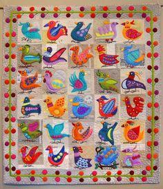 Bird Dance by Sue Spargo, wool applique wall quilt