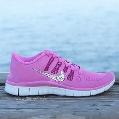 Swarovski Crystal Nike Shoes Pink and clear rhinestones by GlitterFix.com