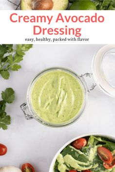 This amazing Creamy Avocado Dressing is made with all natural ingredients including yogurt, cilantro, and fresh avocado! Tastes delicious as a dip, salad dressing, or even drizzled on tacos. #appetizer #condiment #salad #sidedish #snack #kidfriendly #makeahead #quickandeasy