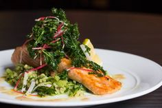 Mustard-Glazed Salmon with pearl barley risotto, kale pesto, bacon & cabbage #Toronto #Restaurant #Food