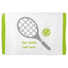 Shop Tennis racket and ball custom towel created by sports_gifts. Personalize it with photos & text or purchase as is! Tennis Camp, Towel Display, Monogram Towels, Tennis Gifts, Custom Plates, Friend Birthday Gifts, Sports Gifts, Tennis Players, Rackets