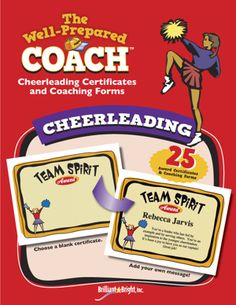 Cheerleading certificate templates, awards and coaching forms