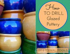 How to Drill Glazed Pottery by Eternal Tools. Turn your old china, pots, planters and crockery into things of wonder. This easy to folllow tutorial tells you the tools you need, how to set up and how to go about drilling through your glazed pottery. Ceramic Jars, Ceramic Planters, Glazed Ceramic, Glazes For Pottery, Glazed Pottery, Ceramic Pottery, Garden Tool Storage, Micro Macramé, Drilling Holes