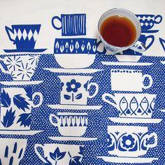 Tea towel  Everyone Came to Tea in china blue