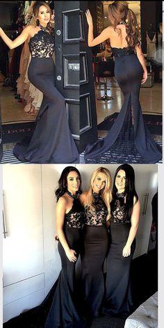 black mermaid long prom dresses, 2016 bridesmaid dresses, black bridesmaid…