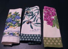 Lot of 3 Kitchen Linens Grapes Olives Motif - Pam Marker Torchon Poupees FRANCE